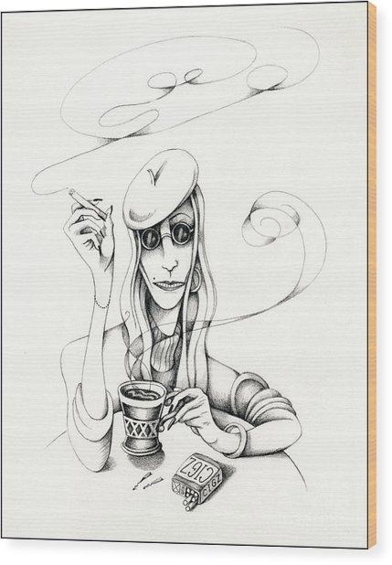 Cafe Lady Wood Print