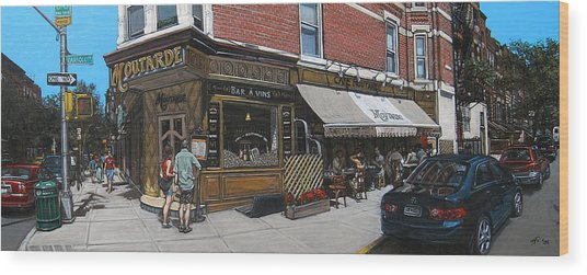 Cafe Moutarde Wood Print by Ted Papoulas