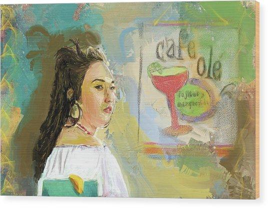 Cafe Ole Girl Wood Print