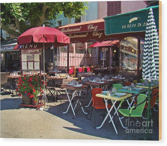 Cafe Scene In France Wood Print