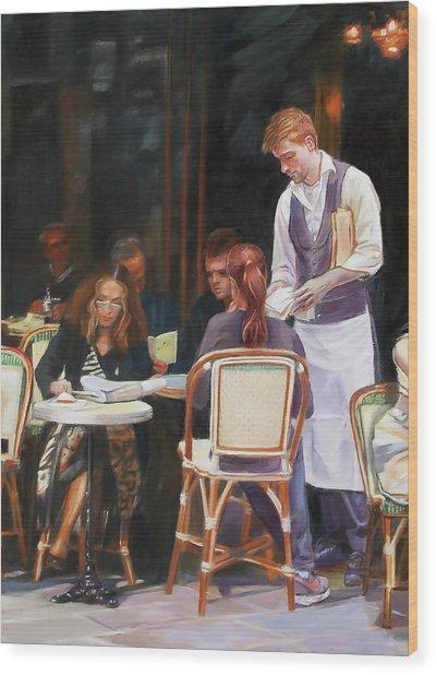 Cafe Scene In Paris Wood Print by Dominique Amendola