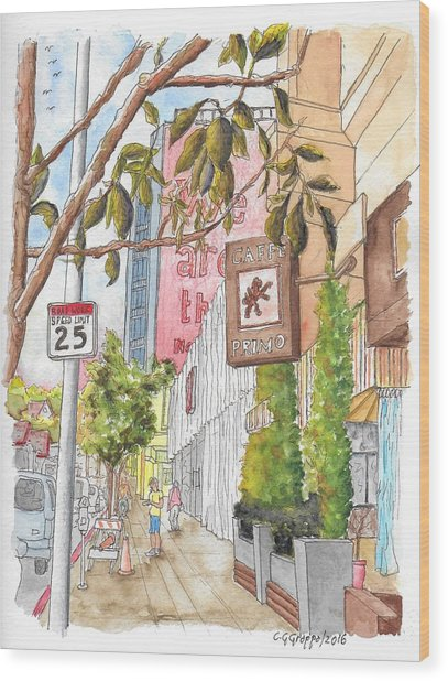 Cafee Primo In Sunset Plaza, West Hollywood, California Wood Print