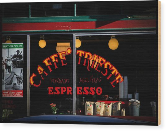 Caffe Trieste Espresso Window Wood Print