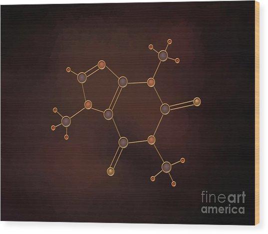 Caffeine Molecule Wood Print