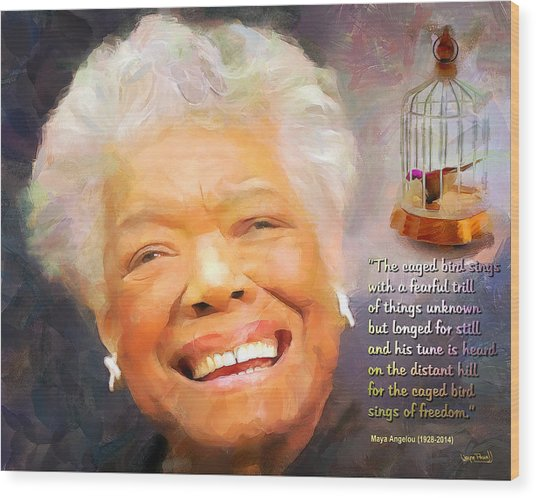 The Caged Bird Sings - Tribute To Maya Angelou Wood Print