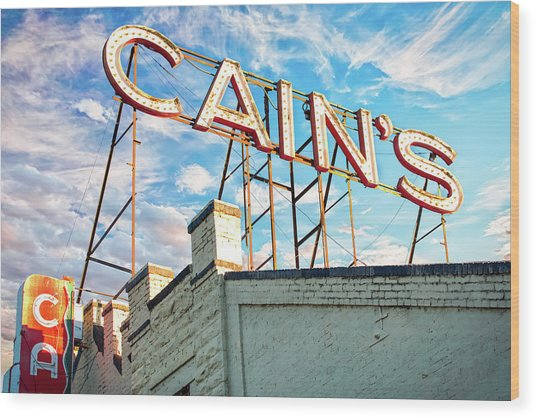 Cains Ballroom Music Hall - Downtown Tulsa Cityscape Wood Print