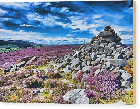 Cairn And Heather Wood Print