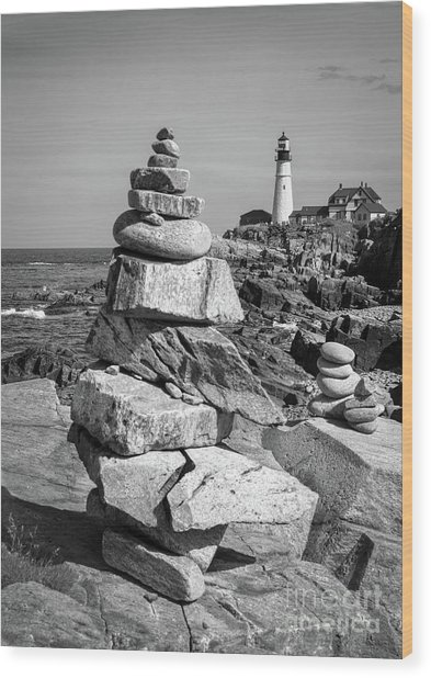 Cairn And Lighthouse  -56052-bw Wood Print