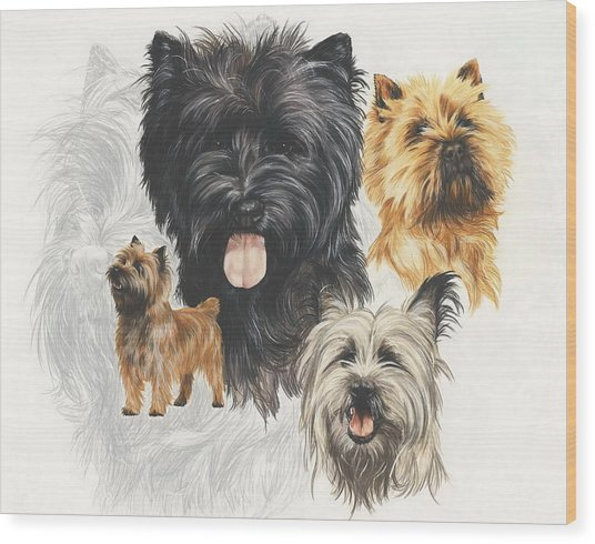 Wood Print featuring the mixed media Cairn Terrier Revamp by Barbara Keith