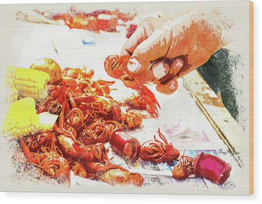 Wood Print featuring the digital art Cajun Cooked Crawfish by Barry Jones