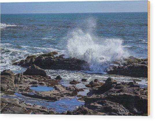 Wave Crashing On California Coast Wood Print