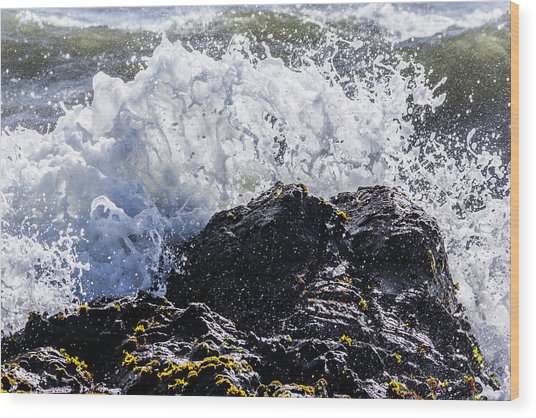 California Coast Wave Crash 4 Wood Print