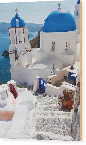 Caldera With Stairs And Church At Santorini Wood Print
