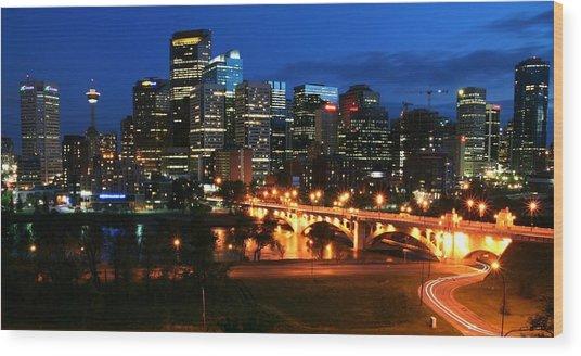 Calgary Skyline At Night Wood Print