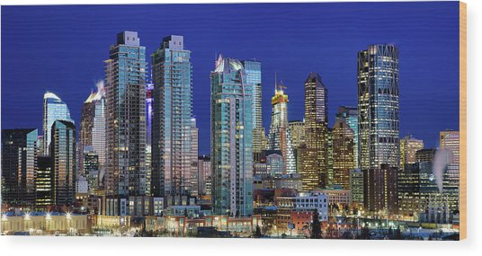 Calgary's Blue Hour Wood Print