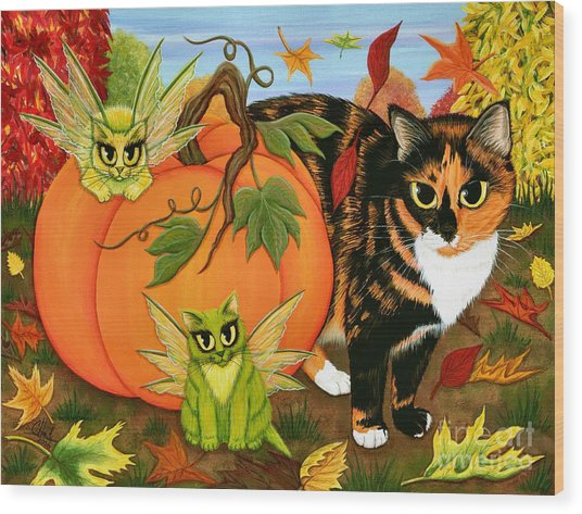 Calico's Mystical Pumpkin Wood Print