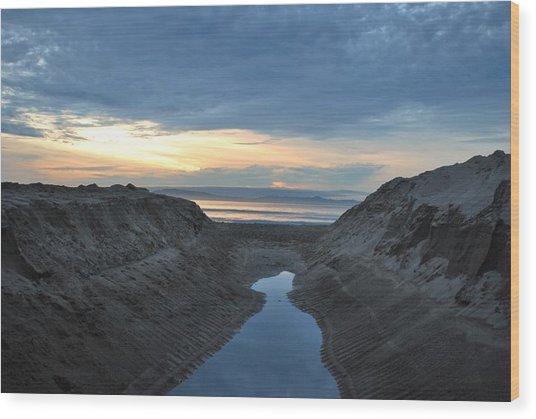 California Beach Stream At Sunset - Alt View Wood Print