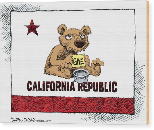California Budget Begging Wood Print