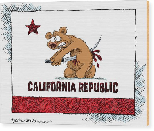 California Budget Harakiri Wood Print