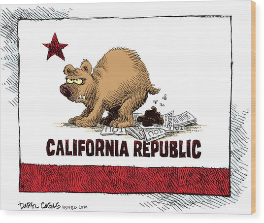 California Budget Iou Wood Print