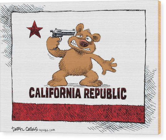 California Budget Suicide Wood Print