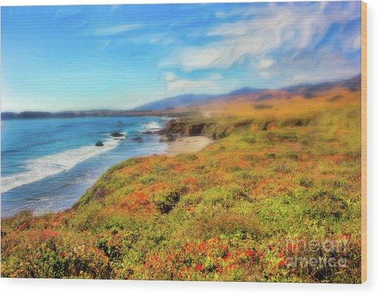 California Coast Wildflowers On Cliffs Ap Wood Print by Dan Carmichael