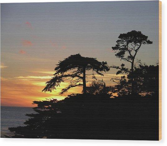 California Coastal Sunset Wood Print