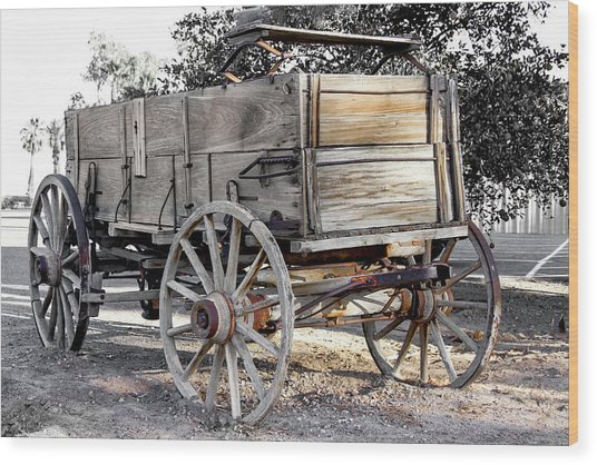 California Farm Wagon Wood Print