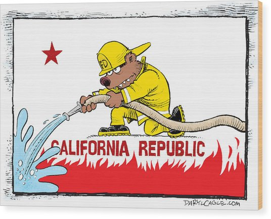 California Firefighter Flag Wood Print