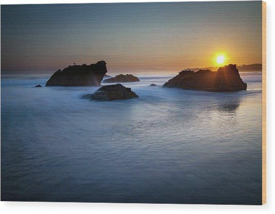 California Ocean Sunset Wood Print