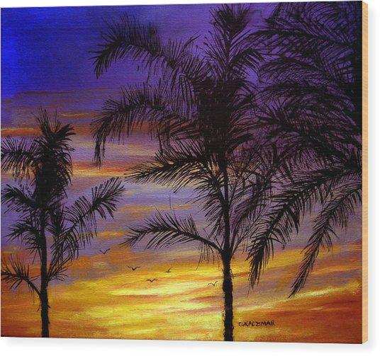 California Sunset Wood Print by Olga Kaczmar
