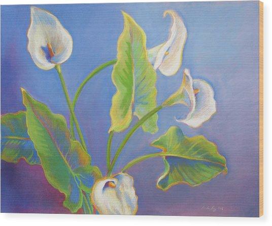 Calla Lilies Wood Print by Linda Ruiz-Lozito