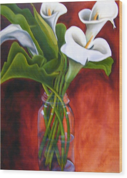 Calla Lilly On Red Wood Print by Joyce Snyder