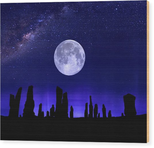 Callanish Stones Under The Supermoon.  Wood Print