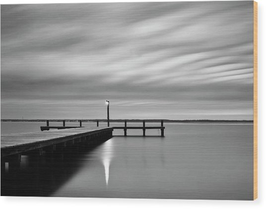 Calm Barnegat Bay New Jersey Black And White Wood Print