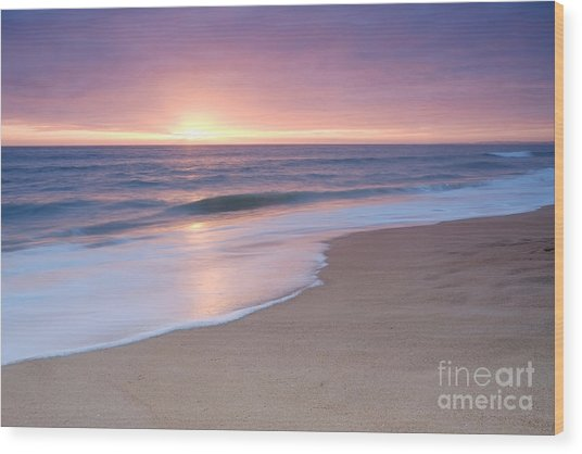 Calm Beach Waves During Sunset Wood Print