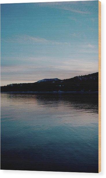 Calm Blue Lake Wood Print