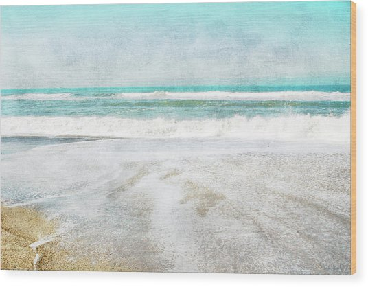 Calm Coast- Art By Linda Woods Wood Print