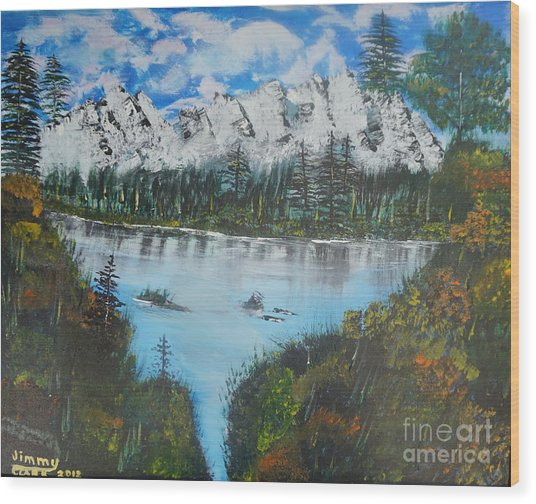 Calm Lake Wood Print