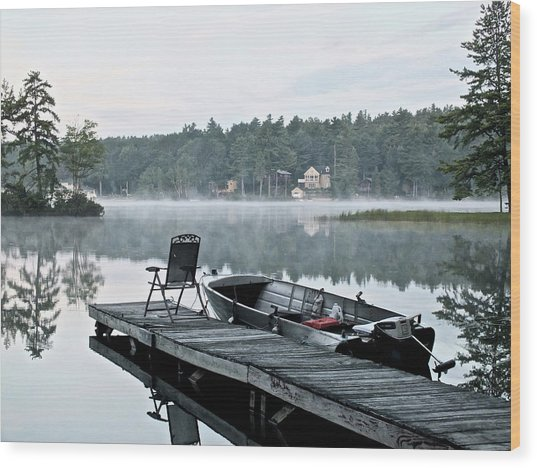 Calm Morning On Little Sebago Lake Wood Print