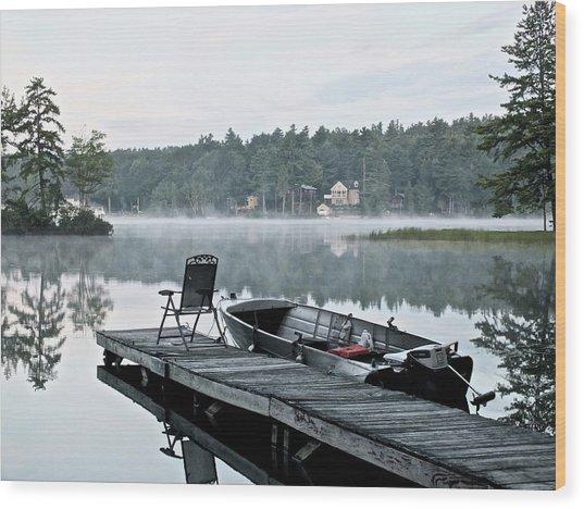 Calm Morning On Little Sebago Lake Wood Print