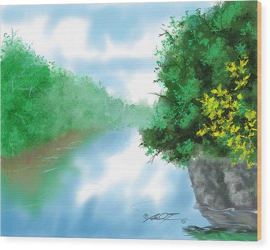Calm River Wood Print