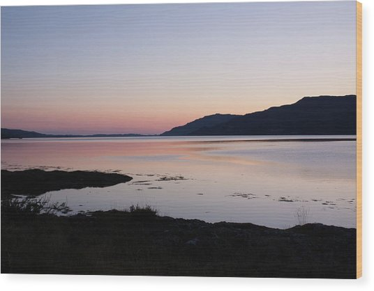 Calm Sunset Loch Scridain Wood Print
