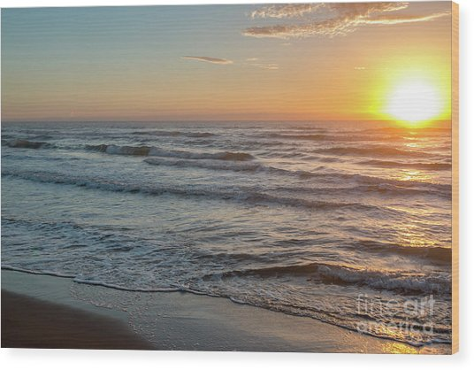 Calm Water Over Wet Sand During Sunrise Wood Print