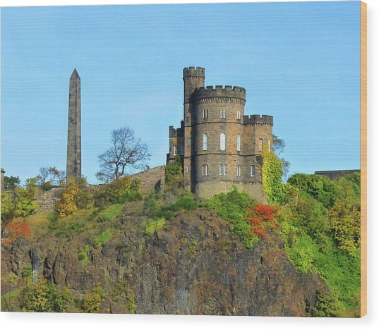Calton Hill Wood Print by Deborah Smolinske