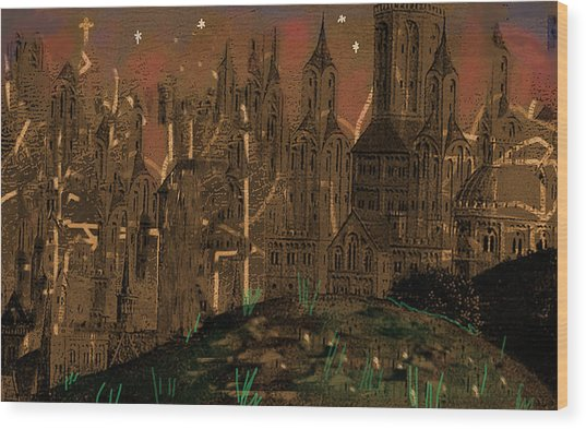 Calvino's Night...after Van Eyck Wood Print
