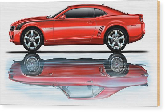 Camaro 2010 Reflects Old Red Wood Print by David Kyte