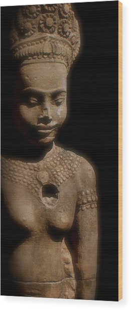 Cambodian Statue  Iv Wood Print by Louise Fahy