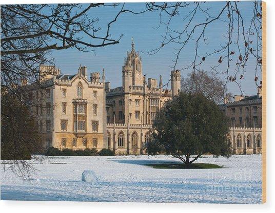 Cambridge Snowscape Wood Print