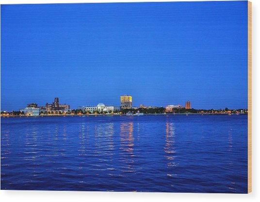 Camden Night Skyline Wood Print by Andrew Dinh